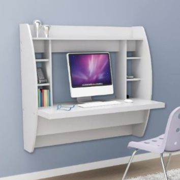 Prepac Floating Desk with Storage - White: Home & Kitchen
