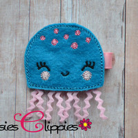 Turquoise Jellyfish Embroidered Hair Clip - Felt Jellyfish Hair Barrette