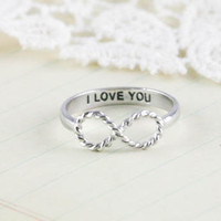 I Love You infinity ring in silver us size 5 - 8