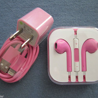 Pink USB SYNC CABLE Wall Charger Earphones ControlTalk for iPod Touch 5 iPhone 5