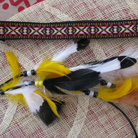 tribal headband, hippie headband, Native headband with feathers, geometric print, yellow and black feathers, southwestern style