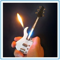 1x Mini White Guitar LED Light Refillable Cigar Cigarette Lighter 7inch""