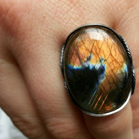 Orange Flame Ring, Sunset, Natural Labradorite, Oxidized Sterling Silver, Fire, Flashy Tangerine, Statement Ring, Spring Summer Color