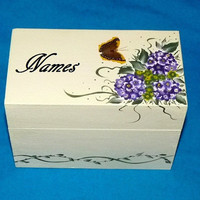 Wedding Guest Book BOX Alternative Victorian Decorative Wood Box- Hand Painted Hydrangeas Wedding Keepsake Box 3x5 Cards Made to Order