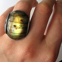 Gold Labradorite Ring, Sterling Silver, Eco Green Recycled Metal, Labradorite Jewelry, Statement, Natural