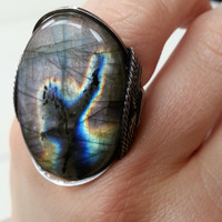 Rock Star Ring, Labradorite Ring, Statement Ring, Natural Gemstone, Rockstar, Darkened Sterling Silver