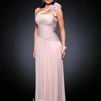 Elegant Sheath Colume One-shoulder Floor-length Chiffon Evening Dress with Flower Details [10105742] - US$114.99 : DressKindom