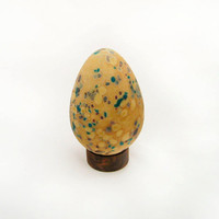 Glass Egg  Beige Teal Brown  Bird  Easter Gift by AvolieGlass