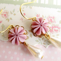 Flower with tear drop pearl Earrings by 4TasteofShabbyChic on Etsy