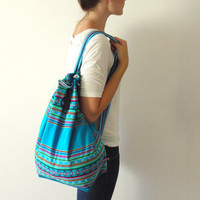 Bright Blue Tribal Fabric Backpack Latin American Peru by sweetllamasupplies