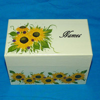 Wedding Guest Book BOX Alternative Victorian Decorative Wood Box- Hand Painted Sunflowers Wedding Keepsake Box 3x5 Cards Made to Order