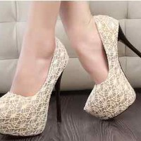 2013 Fashion  Ladies Platform  Stiletto High Heels Shoes With lace  CS77