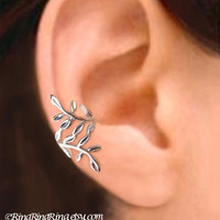 925 Laurel leaf  Sterling silver ear cuff earring by RingRingRing