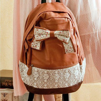 Small and pure and fresh flower bow leisure backpack from flowerbird