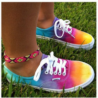 STUDDED VANS SALE Studded Rainbow Tie Dye Vans