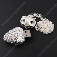 High Quality 8 GB Owl Crystal Jewelry USB Flash Memory Drive Necklace: Computers & Accessories