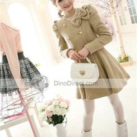 Hescor Woolen Puff Sleeve Outerwear Women Coats -  DinoDirect.com