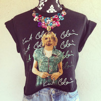 Reworked NIRVANA Jeweled Bib Necklace Shirt by NewSpiritVintage