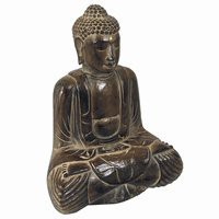 Hand Carved Wooden Sitting Buddha Statue (Dark Wood)