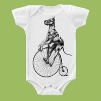 Great Dane on Vintage Trike Onesuit Tank or Tee by ChiTownBoutique