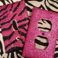 Glittered Raspberry Zebra Light Switch & Outlet Cover Set