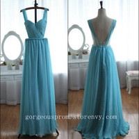 Attractive blue chiffon the prom dress / evening dress