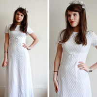 Vintage Wedding Dress / 60s Wedding Dress / Lace Wedding Dress / Small / XS