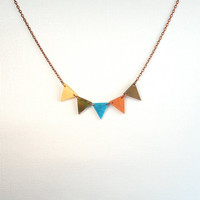 Southwest Sunset Necklace Geometric Triangle by ThePolkadotMagpie