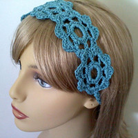 Teal Flower Headband, Spring or Summer Womens Hair Accessories, Crochet