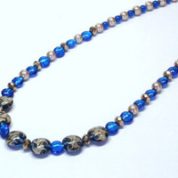 Handmade Beaded Necklace in Bright Blue and Champagne