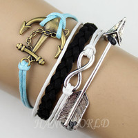Silvery Anchor Bracelet Arrow Bracelet Infinity Karma Bracelet Wish Bracelet Black Braid Bracelet Jewelry Bracelet Personalized -N1161