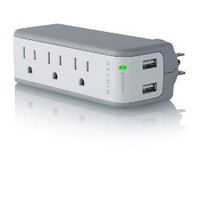Belkin 3-Outlet Mini Travel Swivel Charger Surge Protector with Dual USB Ports (1 AMP / 5 Watt): Electronics