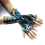 Glistening Sea fingerless gloves - Arm Warmer Silky  Goth Yoga Dark Cycling Fusion  Chik  Boho Earth  Gypsy Bellydance