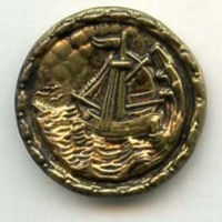 Sailing Vessel  brass medium size antique button
