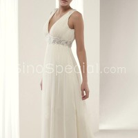 Easter Day Promotion:White A-line V-neck Empire Waistline Sweep Train Organza Wedding Dress-SinoSpecial.com