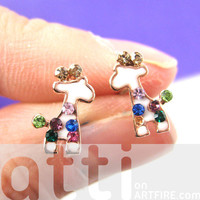 Small Giraffe Animal Stud Earrings in White with Colorful Rhinestones from Dotoly Love