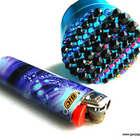 Tribal Aztec Herb Grinder, Blue Black Jeweled Grinder