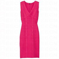 Bqueen V-Neck Bandage Dress Rose Red H237R9