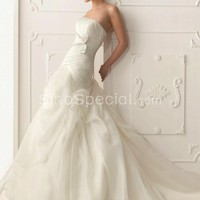 Attractive Mermaid/Trumpet Pleated Bowknot Chapel Train Wedding Dress-SinoSpecial.com