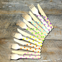 Wooden Cutlery SET  GIRLS Rainbow Polka by thebakersconfections