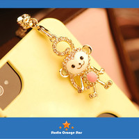 1PC Bling Rhinestone Cute Hanuman Monkey Earphone Charm Cap Anti Dust Plug for iPhone 5, iPhone 4, Samsung S3