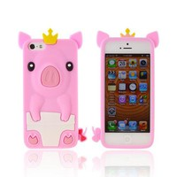 Apple iPhone 5 Silicone Case - Pink Royal Piglet