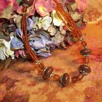 Amber Brown Beaded Necklace, Seed Bead Necklace, Faceted Beads, Adjustable