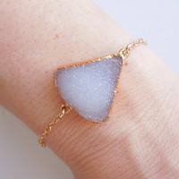White Druzy Bracelet, Vanilla White