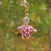 1PC Bling Crystal Cute Animal Pink Turtle by StudioOrangeStar