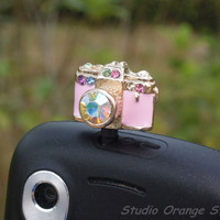 1PC Bling Rhinestone Cute Camera Earphone by StudioOrangeStar