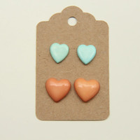 Baby Blue and Pink heart studs  Earrings set of 2 by TheUrbanLady