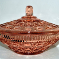 Vintage Glass Bowl -Depression Pink Candy Dish- Windsor Pattern Retro Bowl- Federal Glass Co-Collectible