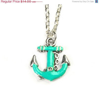 ON SALE turquoise anchor necklace - anchor necklace - anchor jewelry - anchor pendant - turquoise necklace - turquoise jewelry - nautical j