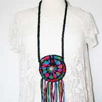 FREE SHIPPING - Festival Pouch with Fringe and Button - Coin Purse, Medicine Bag, Wallet, Necklace - Rainbow & Black